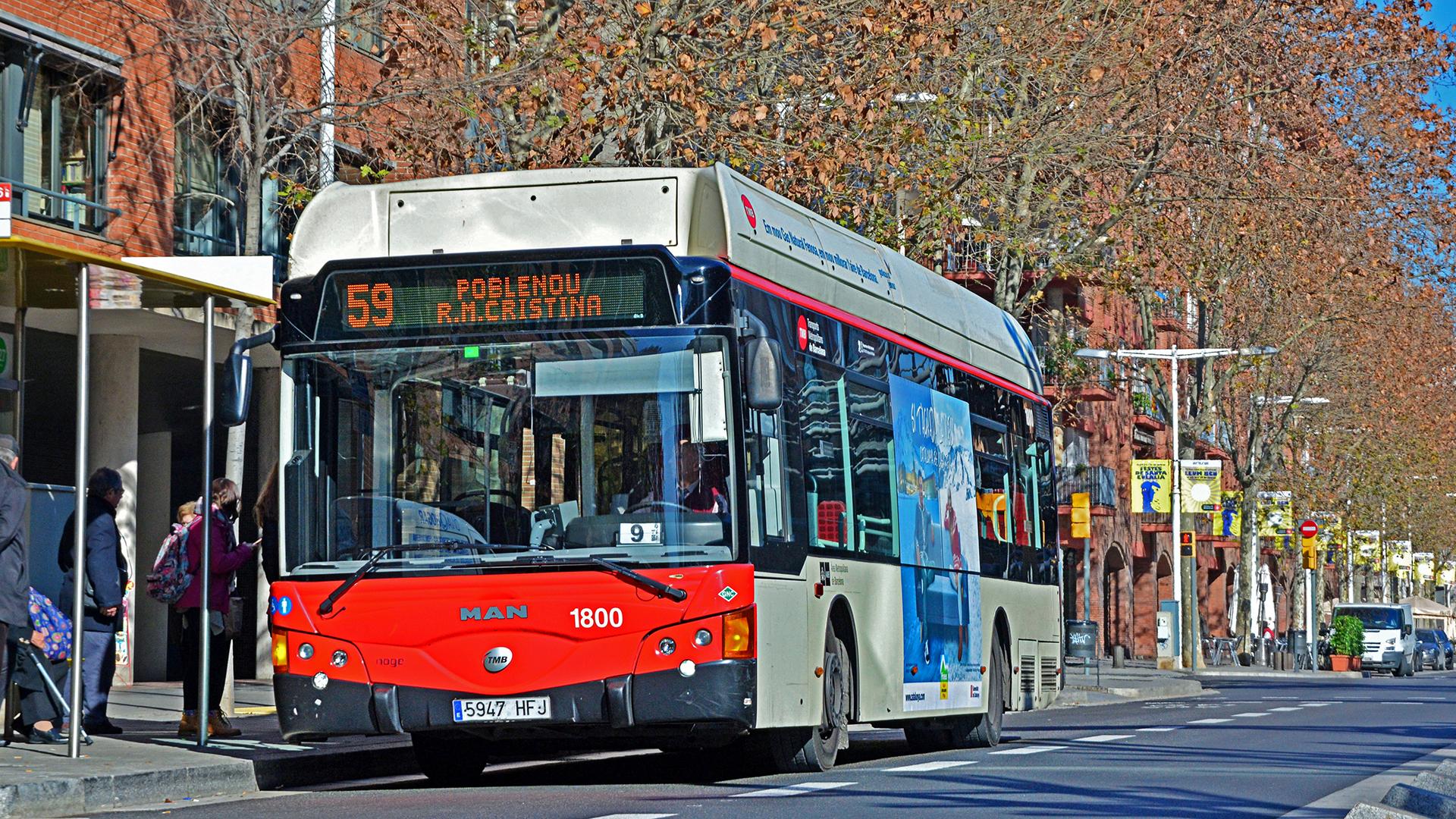 Parada de bus en Barcelona