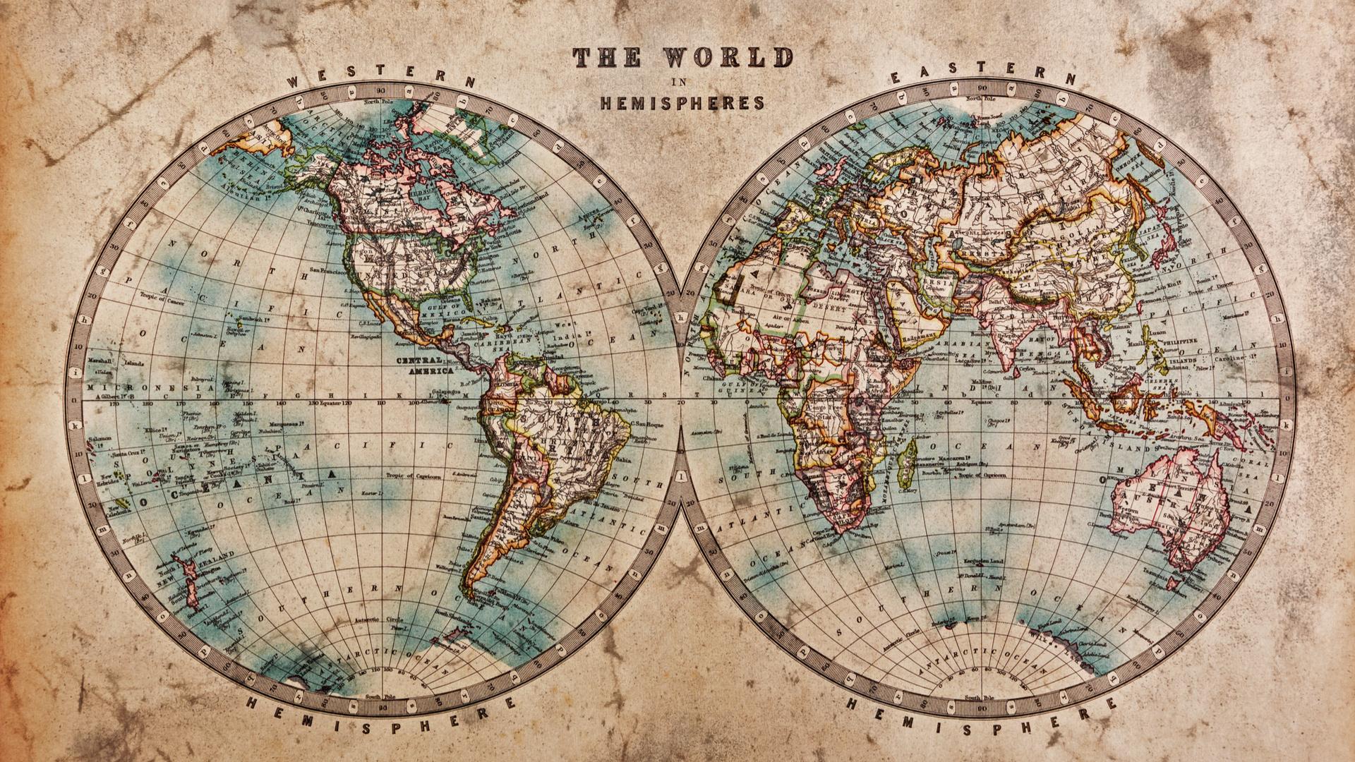 Mapa del món de mitjans de la dècada de 1800, representant els hemisferis occidental i oriental