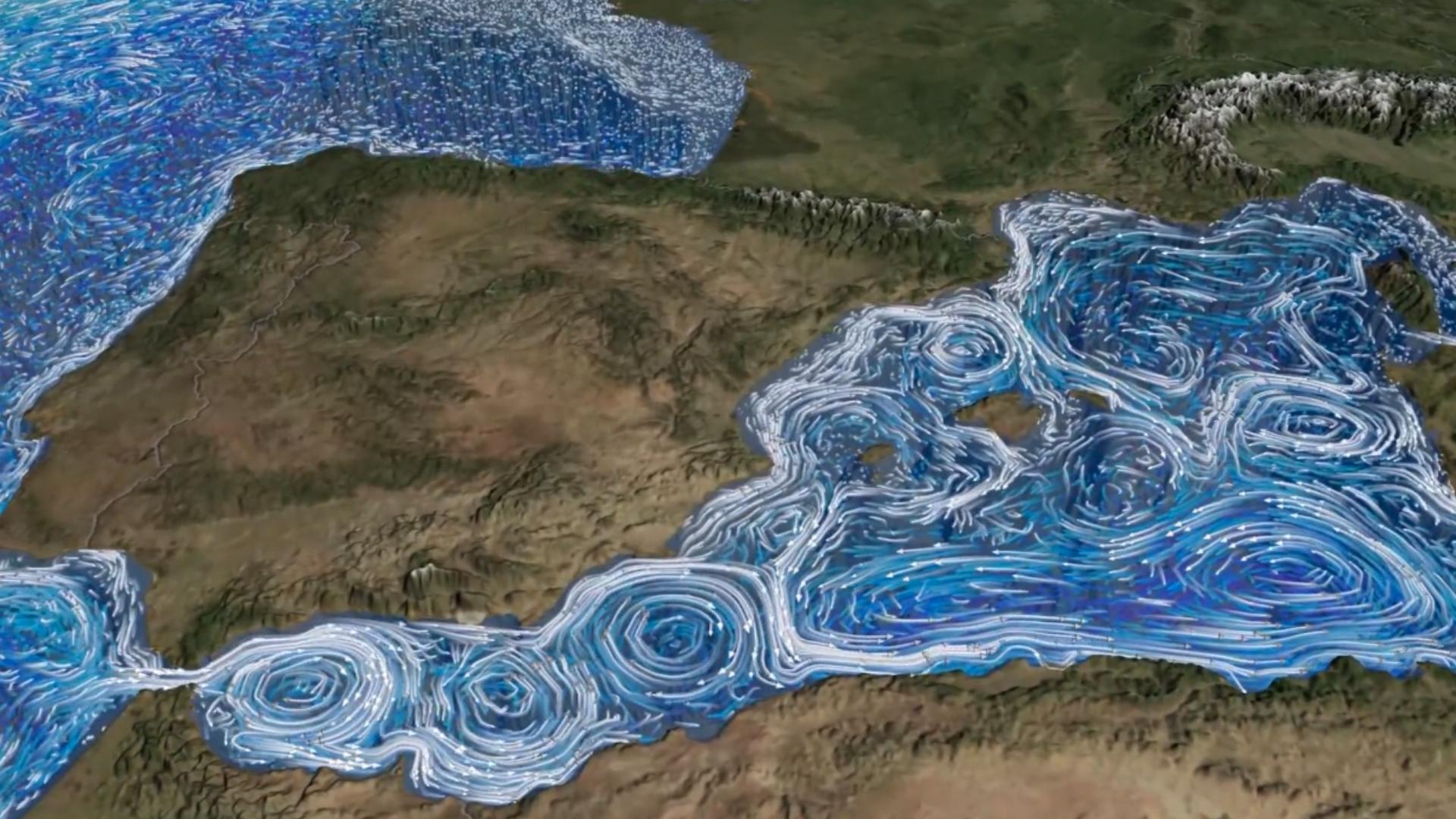 Corrents marins i remolins oceànics a la superfície del Mediterrani occidental