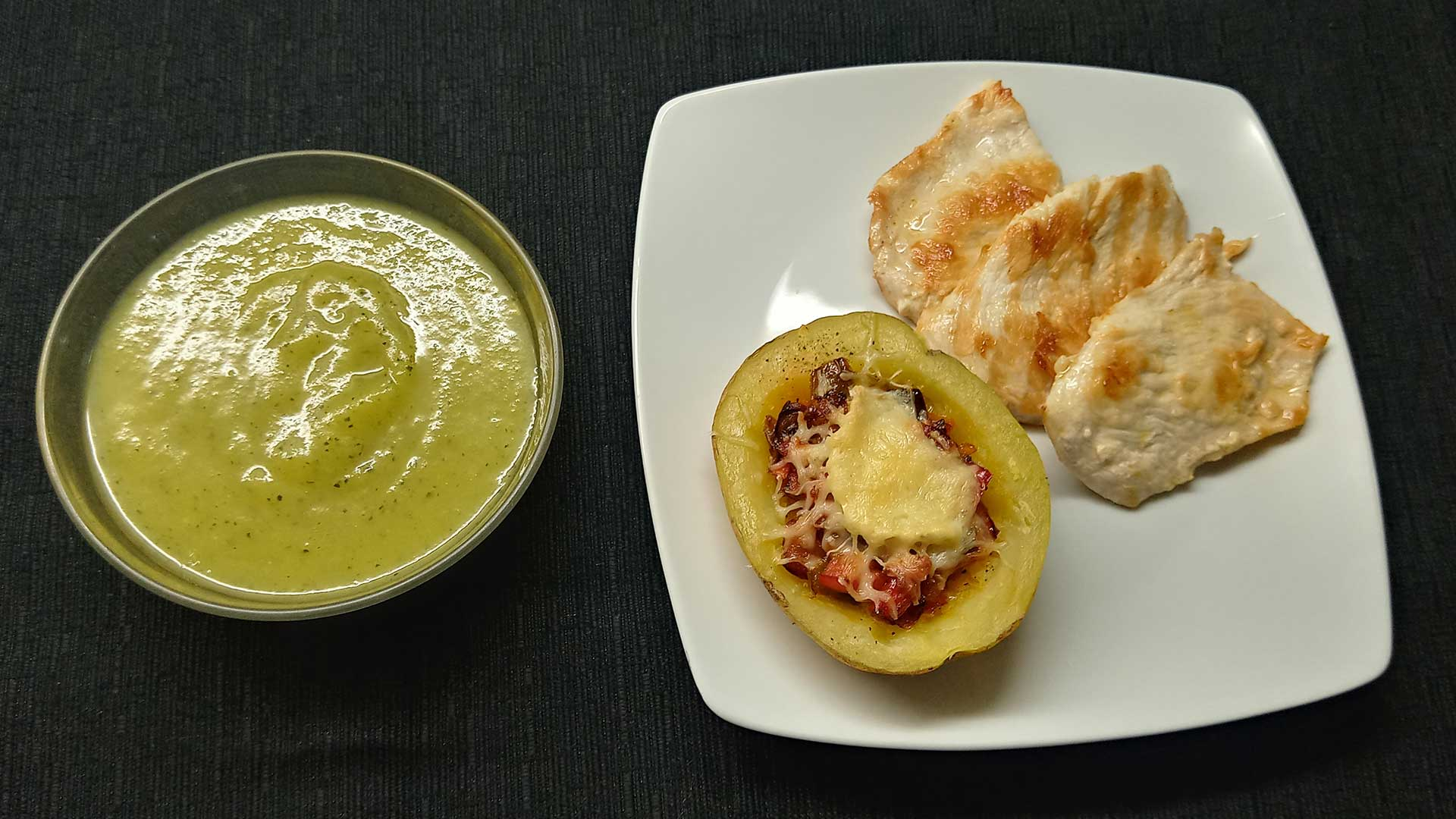 Puré verdures i patata farcida